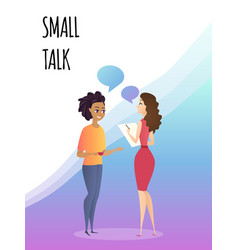 talking female colleagues in office small talk vector image
