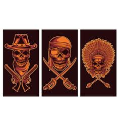 Three skulls heads vector