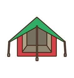Tourism tent camping excursions green and pink vector