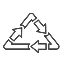 triangular recycle arrow icon outline style vector image