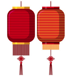 two red lanterns in red vector image