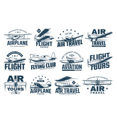 Vintage plane isolated icons air travel aircraft vector