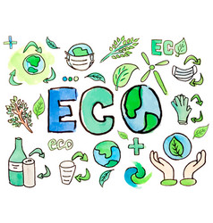 watercolor hand painted ecology recycling waste vector image
