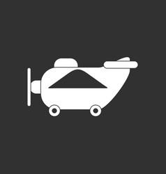 White icon on black background retro plane toy vector