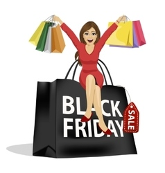 woman sitting on big black friday shopping bag vector image vector image