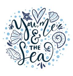 You me the sea card vector