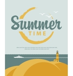 banner summer time with sea vector image