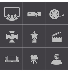 black movie icons set vector image vector image
