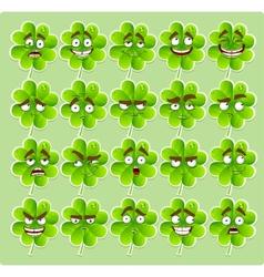 Cute cartoon four-leaf clover with many vector