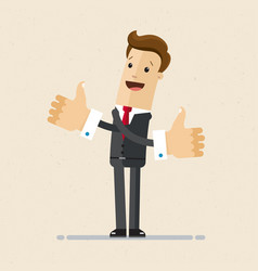 happy businessman shows gesture cool two hands vector image