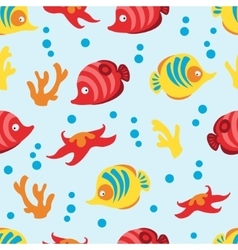 Seamless pattern with sea life on blue background vector image