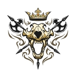 Skull of a lion crown heraldic emblem vector image vector image