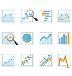 Statistics and analytics data icons with diagrams vector image vector image