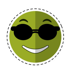 sunglasses and thumb emoticon style cut line vector image