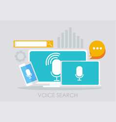 voice search banner computer laptop and phone vector image vector image