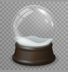 glass ball highlight snow wooden stand 3d vector image vector image