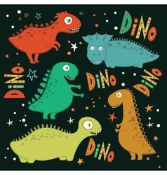 Set of funny cartoon dinosaurs vector image