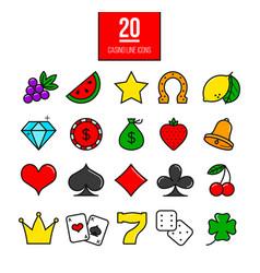bright casino line icons slot-machine symbols vector image