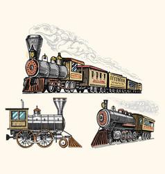 engraved vintage hand drawn old locomotive or vector image vector image