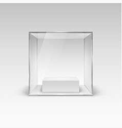 Glass showcase in cube form for presentation vector