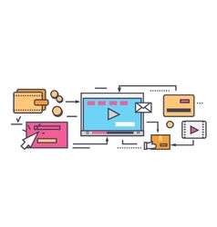 Icon Flat Style Viral Video and Social Marketing vector image