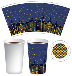 paper cup for hot drink with old town in the night vector image vector image