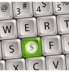 computer keyboard with dollar key vector image vector image