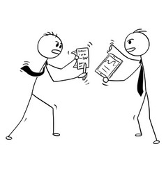 conceptual cartoon of two businessmen arguing or vector image vector image