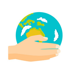 globe earth in hand icon vector image vector image
