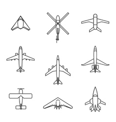 line aircraft set vector image vector image