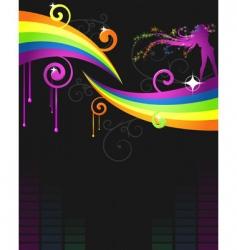 rainbow music flyer vector image vector image