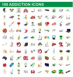 100 addiction icons set cartoon style vector image
