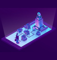 3d isometric concept with bitcoin mining vector