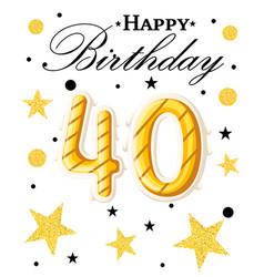 40th happy birthday logo beautiful greeting card vector