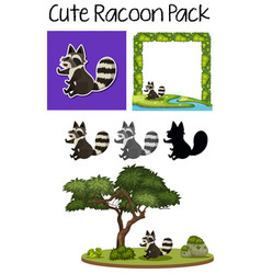 a pack of cute raccoon vector image