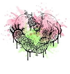 Abstract black and white watercolor heart vector image