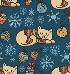 Adorable Christmas cats in warm sweaters vector image