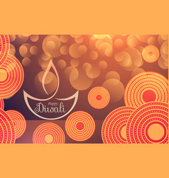 amazing diwali festival background with bokeh vector image