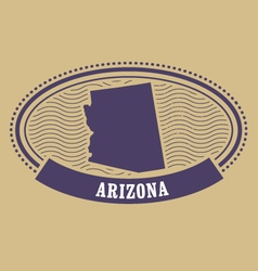 Arizona map silhouette - oval stamp of state vector image