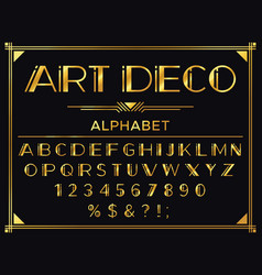 Art deco font golden 1920s decorative letters vector
