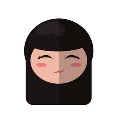 beauty face kokeshi souvenir decorative vector image