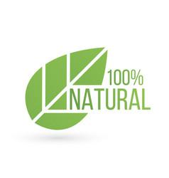 bio product eco 100 percent organic leaf emblem vector image