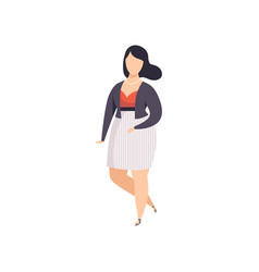 brunette curvy overweigh girl in fashionable vector image