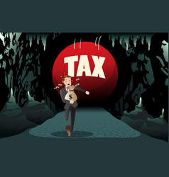 businessman running away from tax vector image