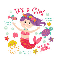 Card with mermaid girl and marine animals vector