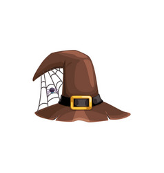 cartoon witch hat icon brown cap and spider vector image
