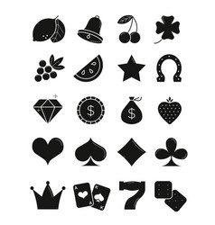 casino black silhouettes icons set vector image