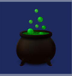 cauldron with green slime icon vector image
