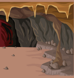 Cave interior background in deep mountain vector