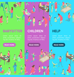 Characters different nanny concept banner vector